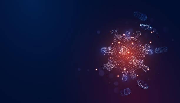 ilustraciones, imágenes clip art, dibujos animados e iconos de stock de novel coronavirus (2019-ncov). virus covid 19-ncp. coronavirus ncov denotado es un virus de arn de una sola cadena. células del virus azul de fondo, plaquetas sanguíneas, píldoras cápsula. ilustración vectorial 3d digital - covid 19