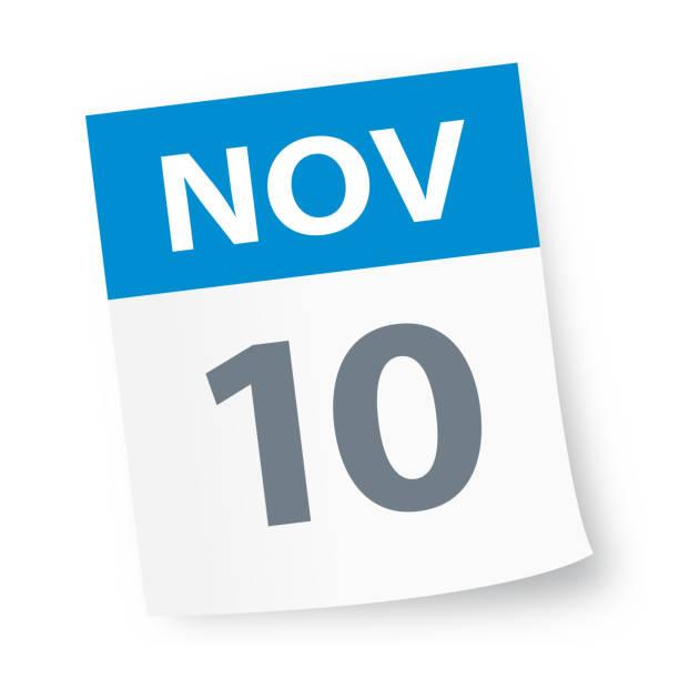 illustrations, cliparts, dessins animés et icônes de 10 novembre: icône de calendrier - date écrite