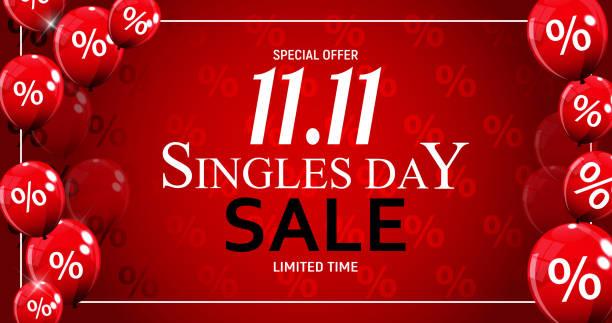 ilustrações, clipart, desenhos animados e ícones de venda de dia 11 de novembro de singles. ilustração vetorial - dia do cliente