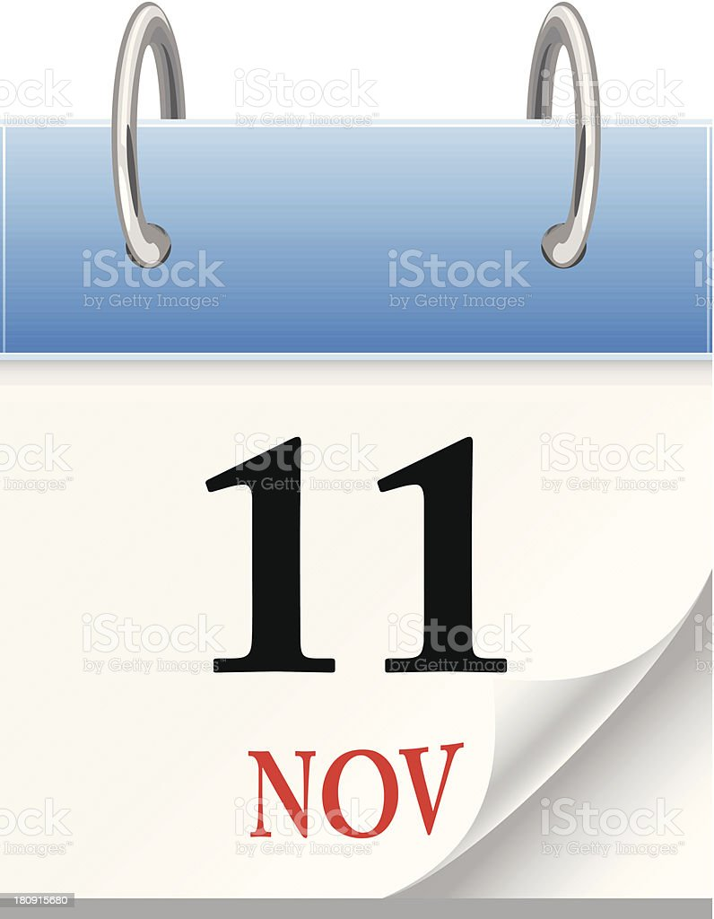 November 11th Calendar vector art illustration