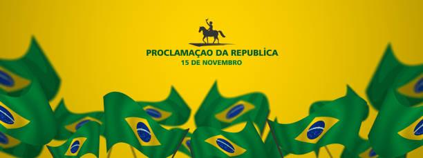 11月15日,宣佈共和國,巴西,翻譯(15德諾姆布羅共和國,巴西)看板,海報,社交媒體,賀卡範本向量插圖 - 獨立 幅插畫檔、美工圖案、卡通及圖標