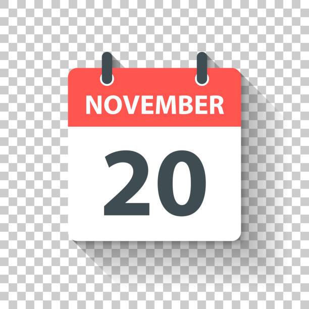 November 20 - Daily Calendar Icon in flat design style vector art illustration