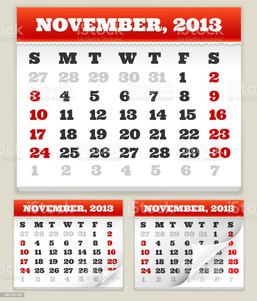 November 2013 Calendar Set vector art illustration