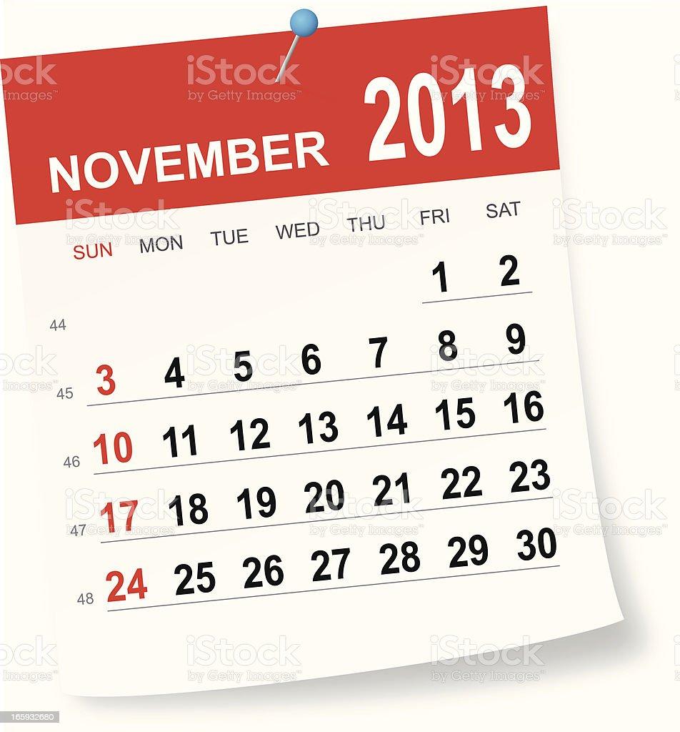 November 2013 calendar vector art illustration