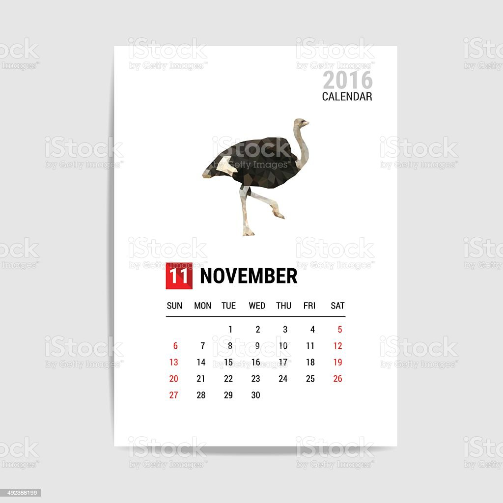 November 2016 calendar, Ostrich polygon vector vector art illustration