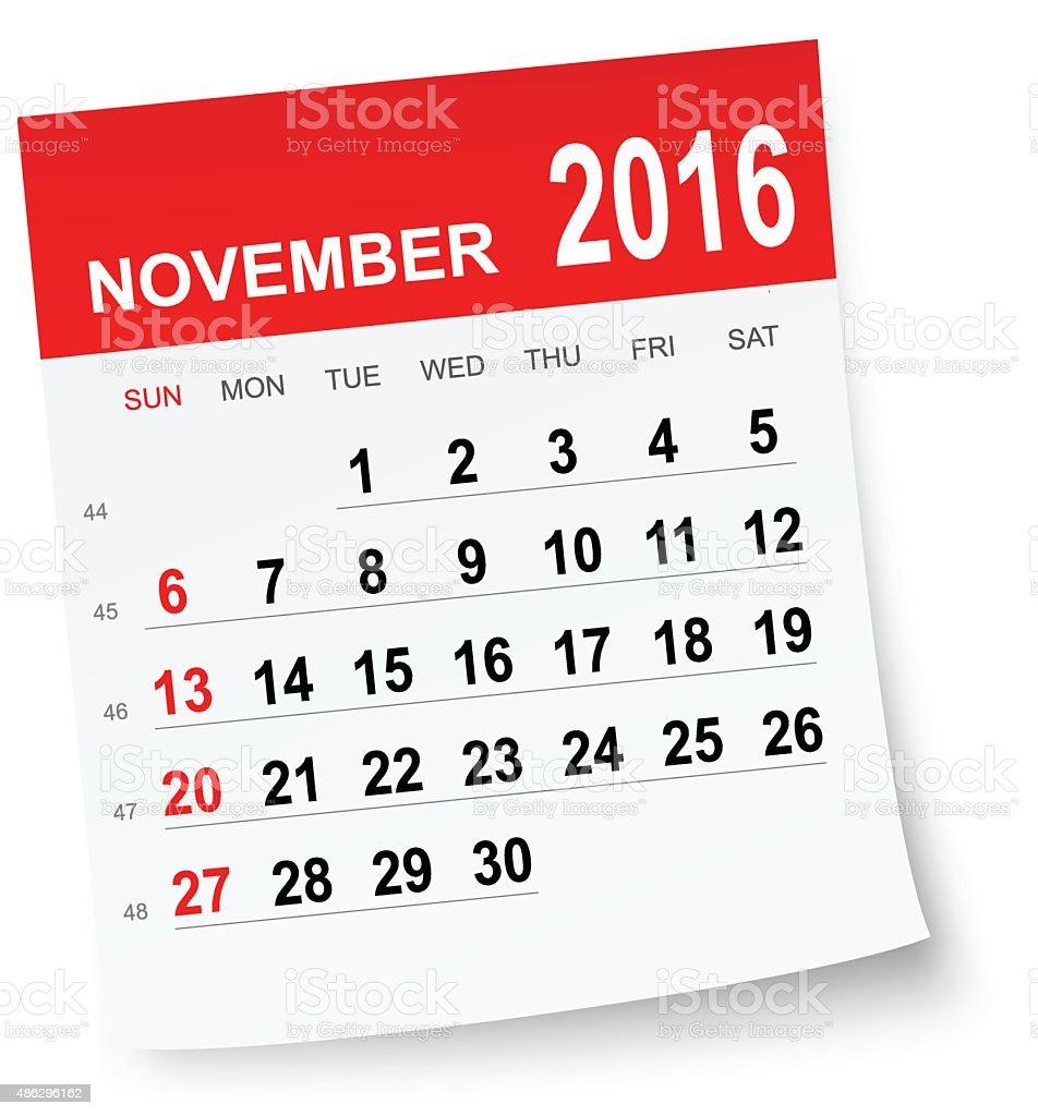 November 2016 calendar vector art illustration