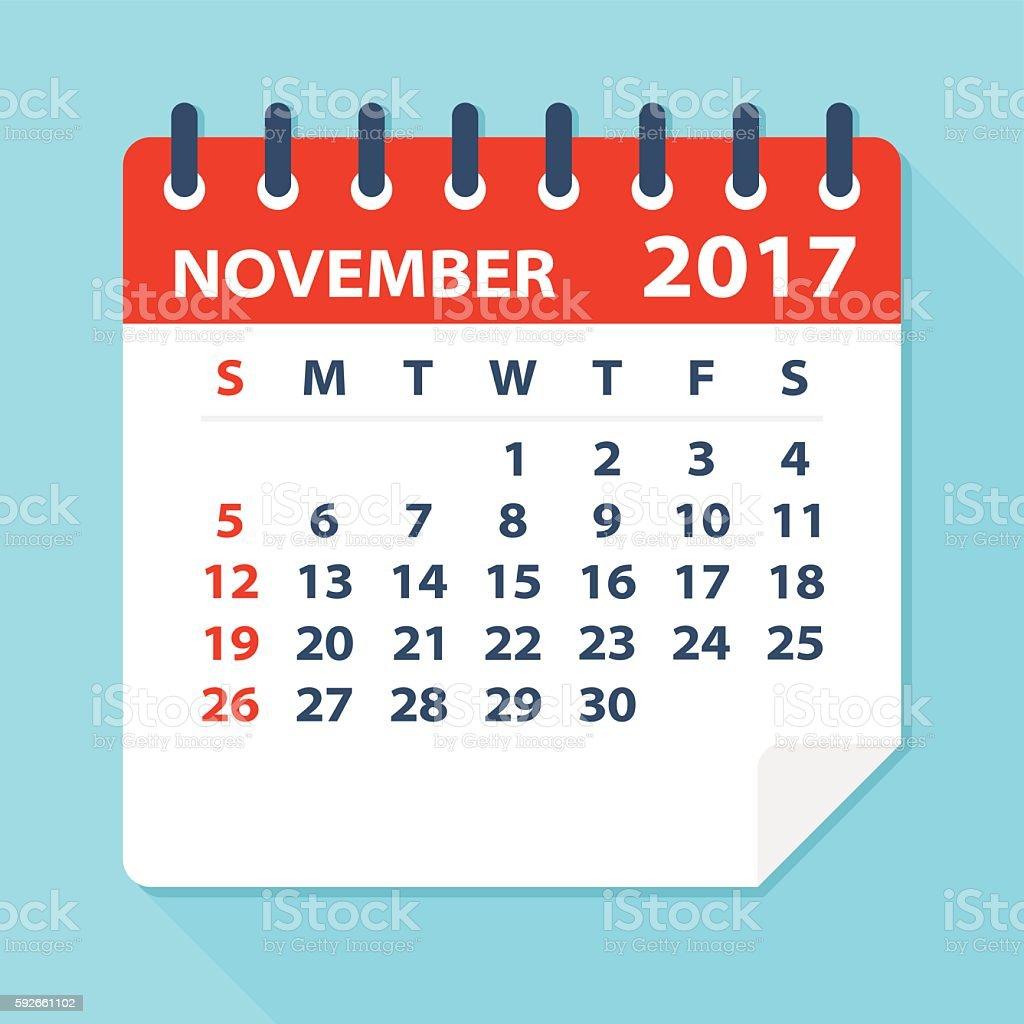 November 2017 calendar - Illustration vector art illustration