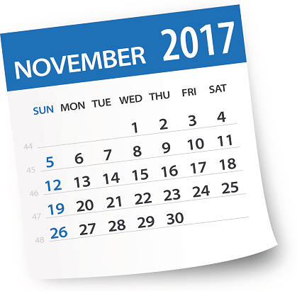 November 2017 calendar leaf - Illustration