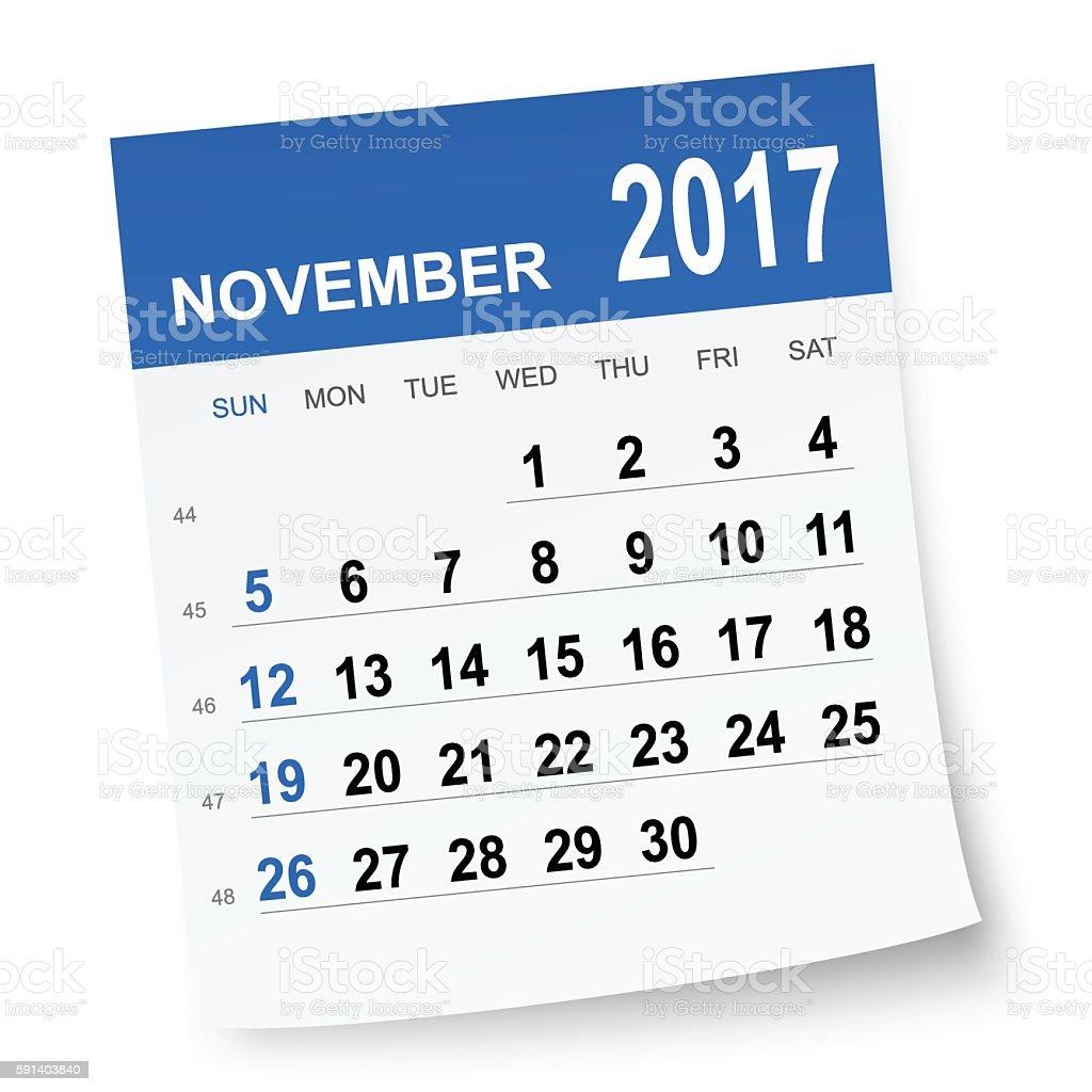 November 2017 calendar vector art illustration