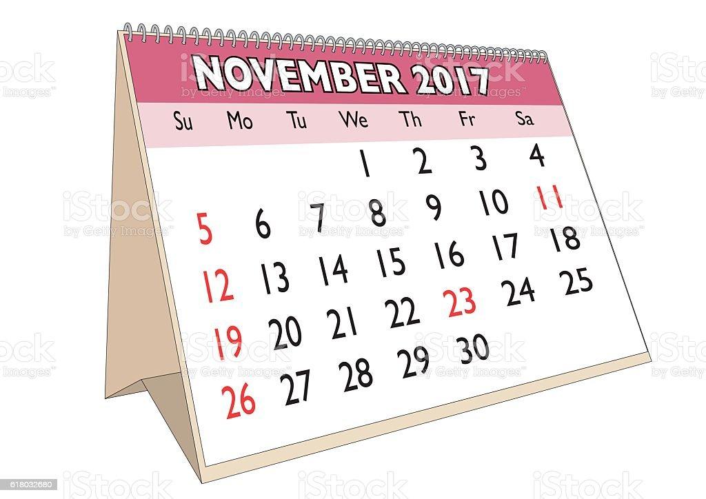 november 2017 desk calendar with usa festive days royalty free november 2017 desk calendar with