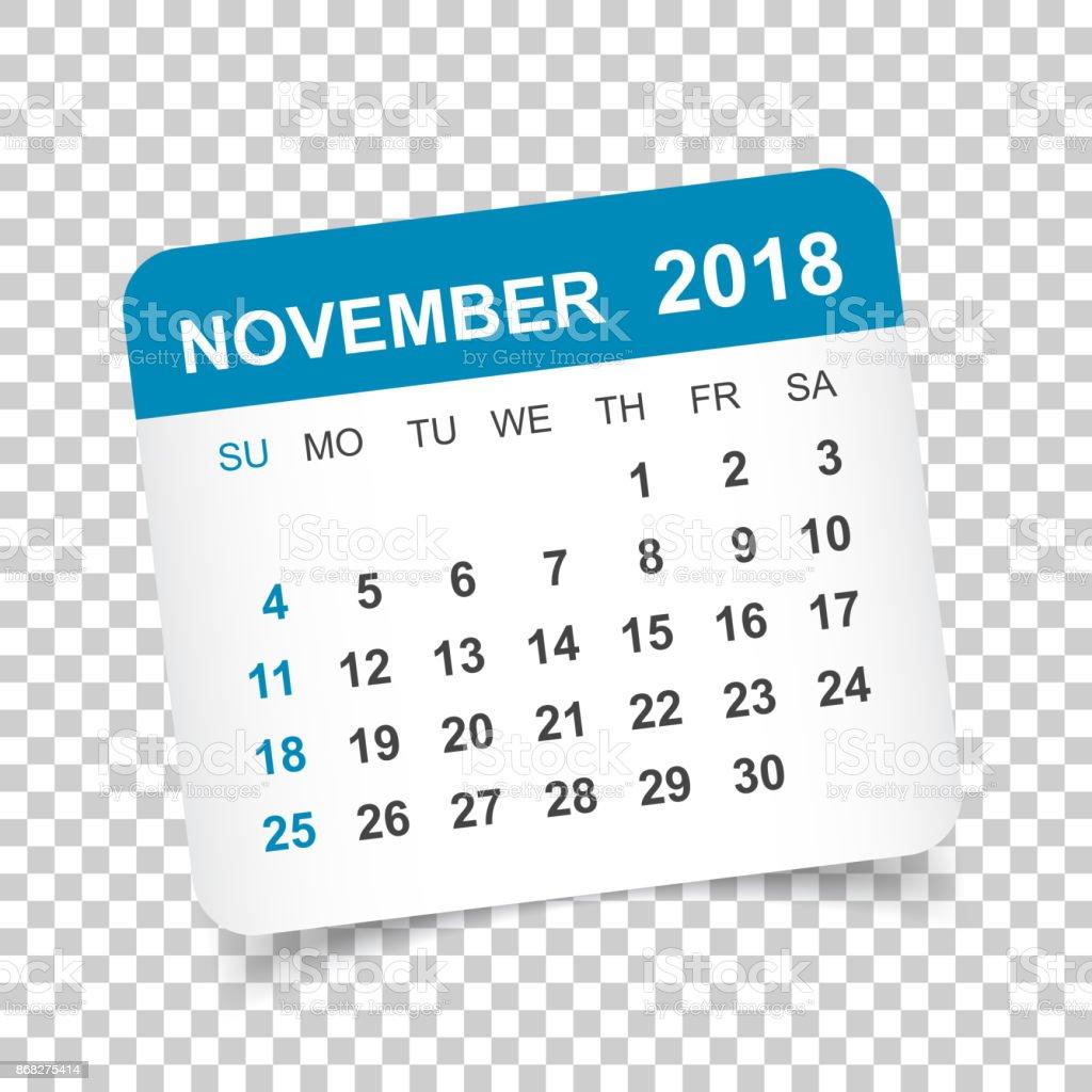 november 2018 calendar calendar sticker design template week starts on sunday business vector