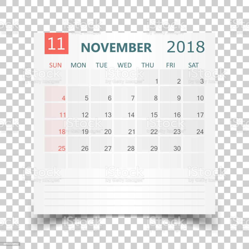 november 2018 calendar calendar sticker design template week starts on sunday business vector