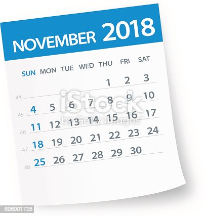 November 2018 Calendar Leaf Illustration Stock Vector Art ...