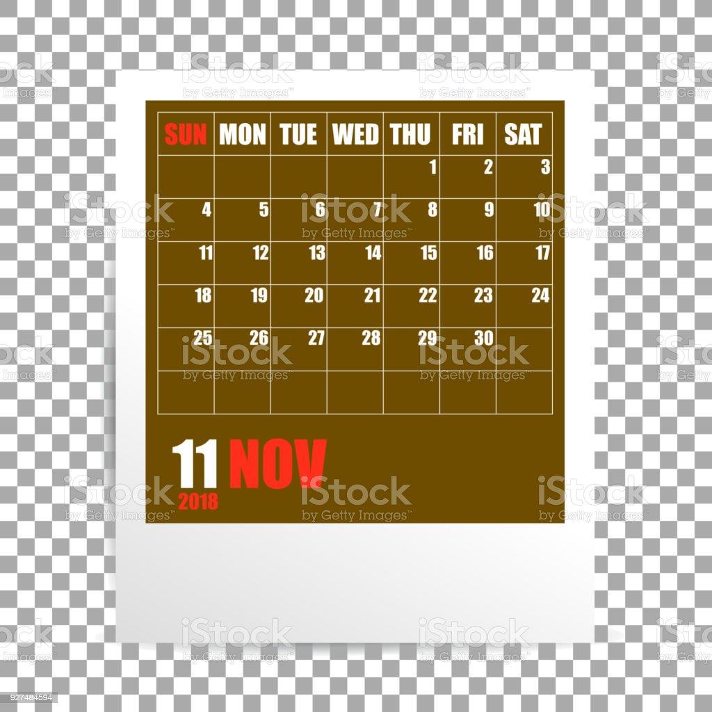 透明な背景に 2018 年 11 月カレンダー フォト フレーム 1人のベクター