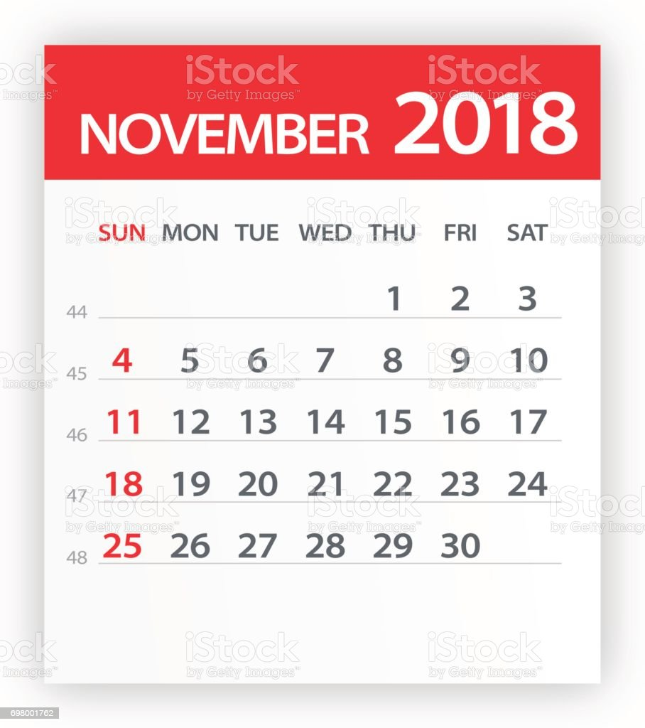 november 2018 calendar red leaf illustration royalty free november 2018 calendar red leaf illustration