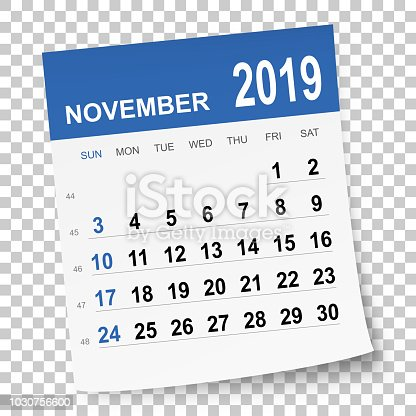 November 2019 calendar isolated on a blank background. Need another version, another month, another year... Check my portfolio. Vector Illustration (EPS10, well layered and grouped). Easy to edit, manipulate, resize or colorize. Please do not hesitate to contact me if you have any questions, or need to customise the illustration. http://www.istockphoto.com/portfolio/bgblue