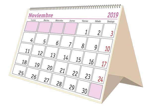 Royalty Free Spanish Week Planning Calendar In Colors Of ...