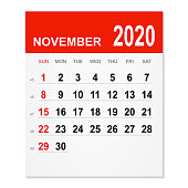 November 2020 calendar isolated on a white background. Need another version, another month, another year... Check my portfolio. Vector Illustration (EPS10, well layered and grouped). Easy to edit, manipulate, resize or colorize.