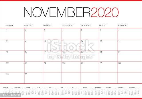 November 2020 desk calendar vector illustration, simple and clean design.