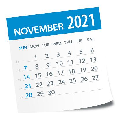 November 2021 Calendar Leaf - Illustration. Vector graphic page