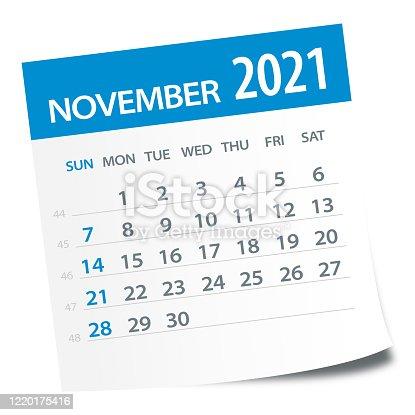 istock November 2021 Calendar Leaf - Vector Illustration 1220175416