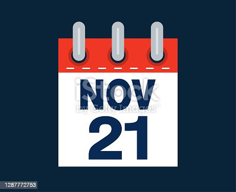 November twenty first calendar date of the month vector illustration