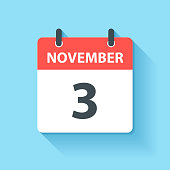 November 3. Calendar Icon with long shadow in a Flat Design style. Daily calendar isolated on blue background. Vector Illustration (EPS10, well layered and grouped). Easy to edit, manipulate, resize or colorize.