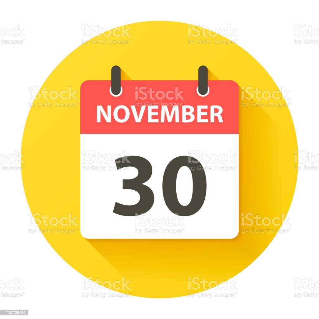 November 30 - Round Daily Calendar Icon in flat design style - Royalty-free 2019 stock vector