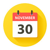 November 30. Round calendar Icon with long shadow in a Flat Design style. Daily calendar isolated on a yellow circle. Vector Illustration (EPS10, well layered and grouped). Easy to edit, manipulate, resize or colorize.
