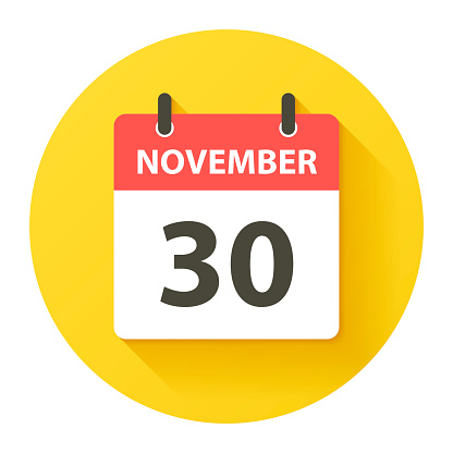 November 30 Round Daily Calendar Icon In Flat Design Style Stock Illustration - Download Image Now