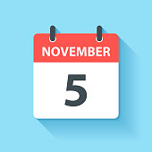 November 5. Calendar Icon with long shadow in a Flat Design style. Daily calendar isolated on blue background. Vector Illustration (EPS10, well layered and grouped). Easy to edit, manipulate, resize or colorize.