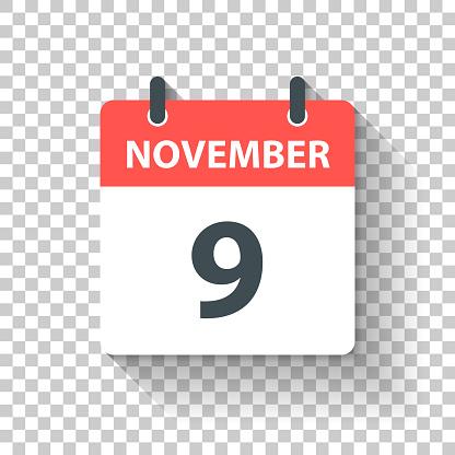 November 9 - Daily Calendar Icon in flat design style