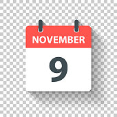 November 9. Calendar Icon with long shadow in a Flat Design style. Daily calendar isolated on blank background for your own design. Vector Illustration (EPS10, well layered and grouped). Easy to edit, manipulate, resize or colorize.