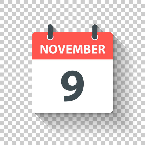 November 9 - Daily Calendar Icon in flat design style November 9. Calendar Icon with long shadow in a Flat Design style. Daily calendar isolated on blank background for your own design. Vector Illustration (EPS10, well layered and grouped). Easy to edit, manipulate, resize or colorize. romance stock illustrations
