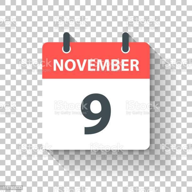 9 Novemberdagelijks Kalenderpictogram In Platte Ontwerp Stijl Stockvectorkunst en meer beelden van 2019