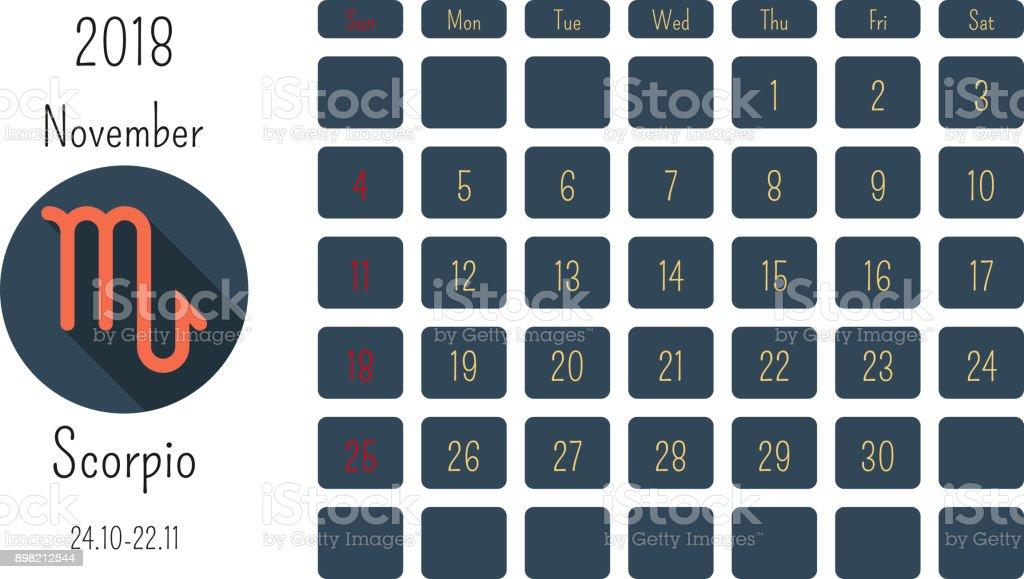 Ilustracion De Calendario Noviembre 2018 Con Horoscopo Signos Simbolos Del Zodiaco Plantilla De Color Plano Y Mas Vectores Libres De Derechos De 2018