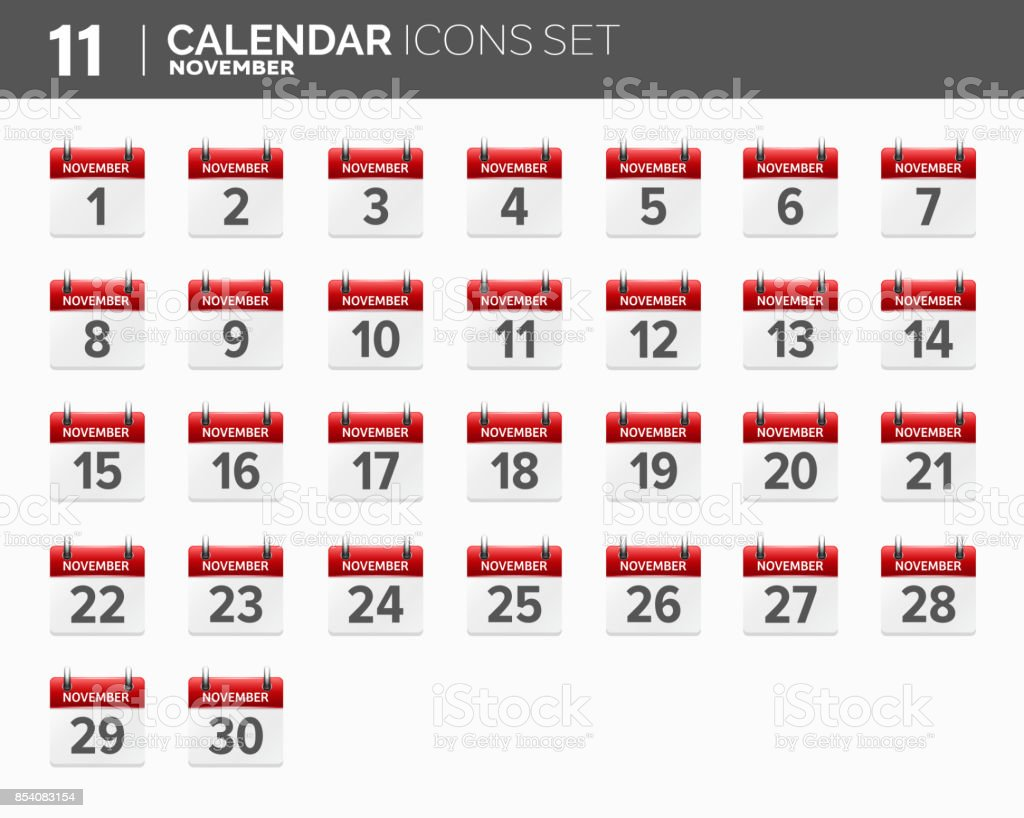 November Calendar Icons Set Date And Time 2018 Year Stock