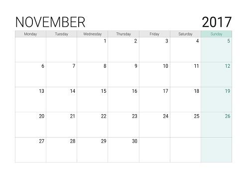 2017 November calendar (or desk planner)
