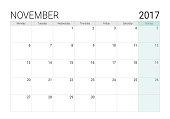 2017 November calendar (or desk planner), week start on Monday