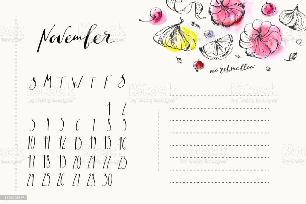 インク書道要素とマシュマロイラストの11月カレンダー イラストレーションのベクターアート素材や画像を多数ご用意 Istock