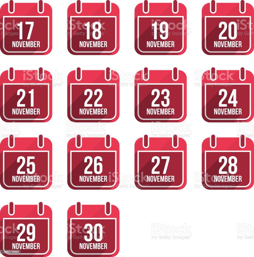 November calendar with long shadow. Days Of Year Set 4 vector art illustration