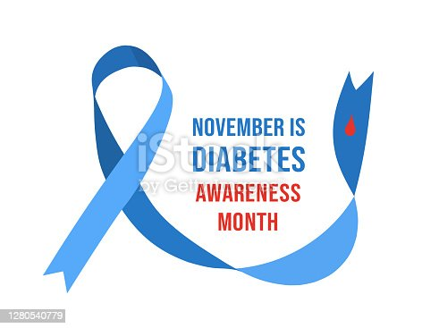November Diabetes Awareness Month. Vector illustration with ribbon and drop of blood