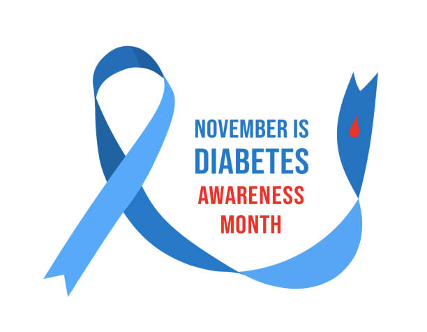 November Diabetes Awareness Month. Vector illustration November Diabetes Awareness Month. Vector illustration with ribbon and drop of blood month stock illustrations