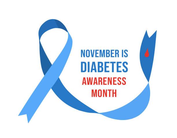 ilustraciones, imágenes clip art, dibujos animados e iconos de stock de noviembre mes de concientización sobre la diabetes. ilustración vectorial - símbolo societal