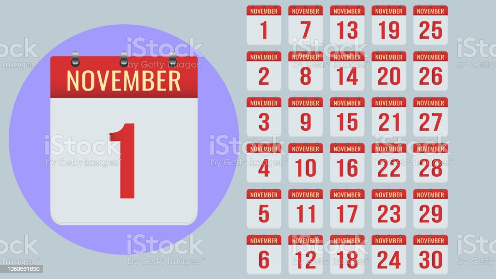 Daily Holiday Calendar.November Flat Daily Calendar Icon Set Isolated On Gray Background