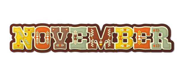 November, illustrated name of calendar month, illustration vector art illustration