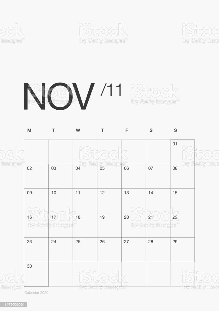 11- November - Minimal Daily Planner 2020 Year Design Printable and Customizable Vector Template. Calendar 2020 Modern Design 13 Pages with + Cover. 11- November - Minimal Daily Planner 2020 Year Design Printable and Customizable Vector Template. Calendar 2020 Modern Design 13 Pages with + Cover. 2020 stock vector