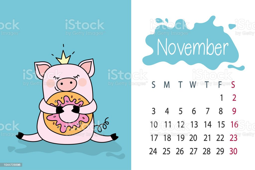november month template 2019 year calendar page with cute pink pig