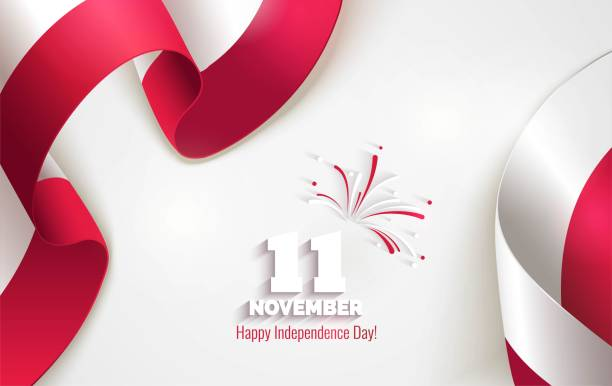 11 november. poland independence day greeting card. - polish flag stock illustrations, clip art, cartoons, & icons