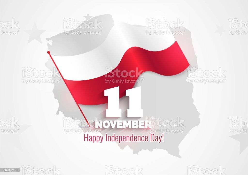 11 de noviembre. Tarjeta de felicitación del día de la independencia de Polonia. - ilustración de arte vectorial